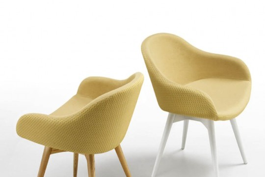 Sonny armchair with low armrest, covered in yellow fabric