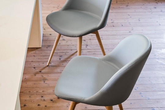 Sonny office chair with gray fabric seat and wooden base