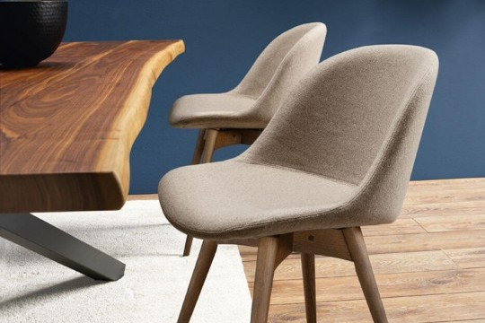 Sonny chair with gray fabric seat and wooden base