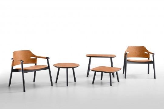 Lounge Suite en siège en cuir et frêne teinté