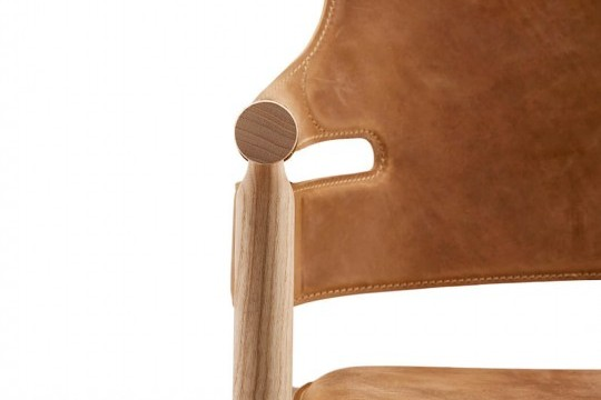 Suite armchair seat detail in brown leather