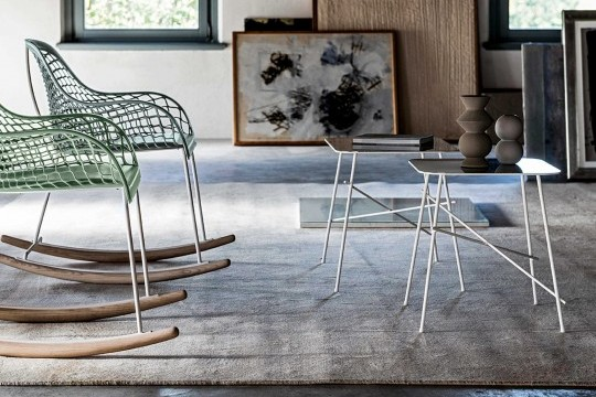 Set of two Walter coffee tables in rectangular and square versions with white painted metal legs and stainless steel top