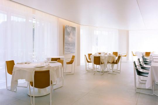 Chaises Apelle dans la hall principale du restaurant L'Arbre Bland à Montpellier