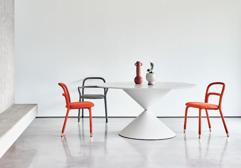 Tavolo tondo Clessidra in legno bianco