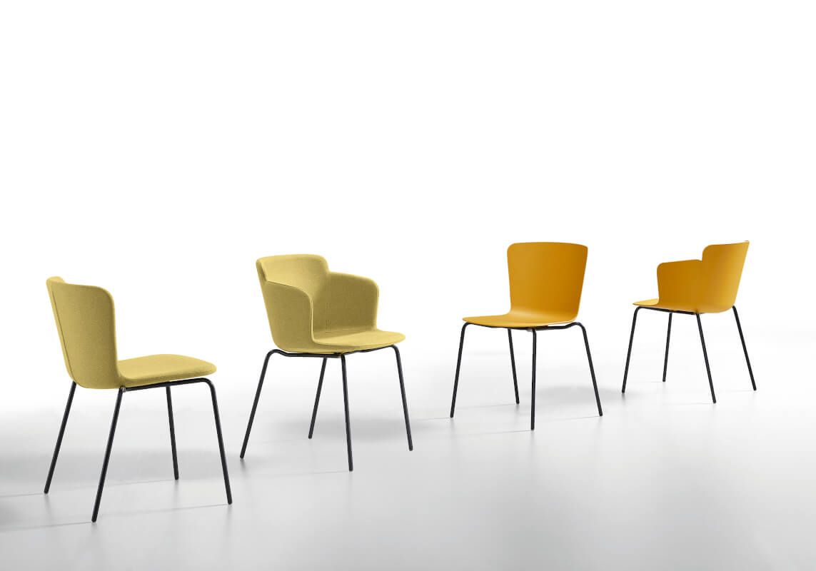 Calla collection with plastic and upholstered seat